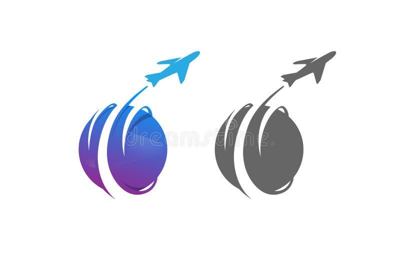 Δημιουργικό λογότυπο σχεδίου αεροπλάνων ταξιδιού πλανητών κύκλων διανυσματική απεικόνιση