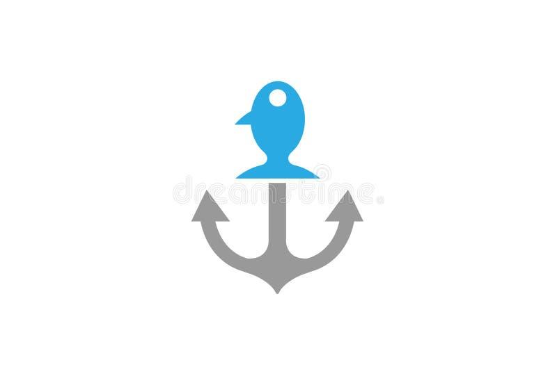 Δημιουργικό λογότυπο ψαριών αγκύρων διανυσματική απεικόνιση