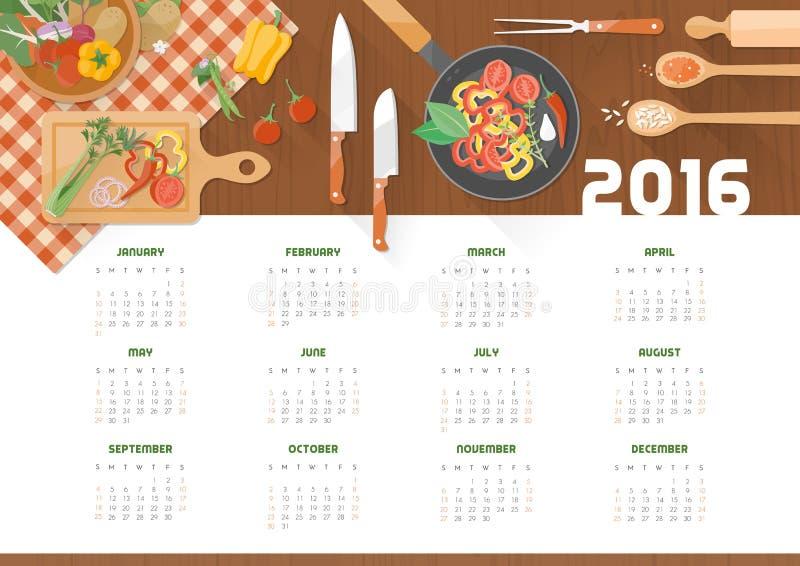 Δημιουργικό μαγειρεύοντας ημερολόγιο 2016 διανυσματική απεικόνιση