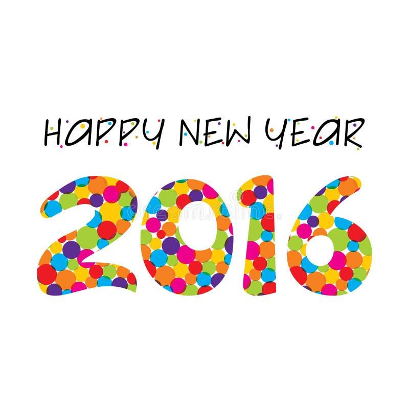 Δημιουργικό νέο χαιρετώντας σχέδιο έτους 2016 απεικόνιση αποθεμάτων