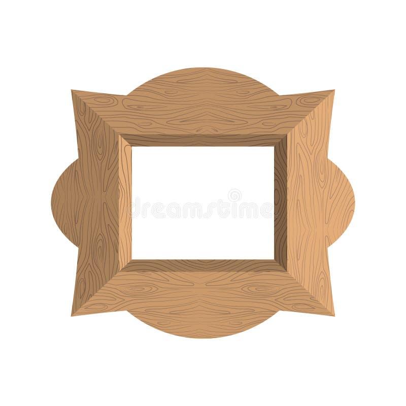 Δημιουργικό ξύλινο πλαίσιο Διανυσματική απεικόνιση ενός κενού fra φωτογραφιών διανυσματική απεικόνιση