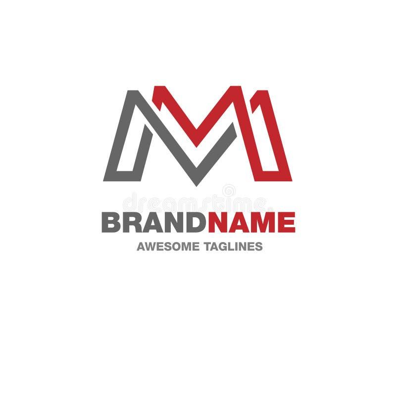 Δημιουργικό λογότυπο γραμμάτων Μ διανυσματική απεικόνιση