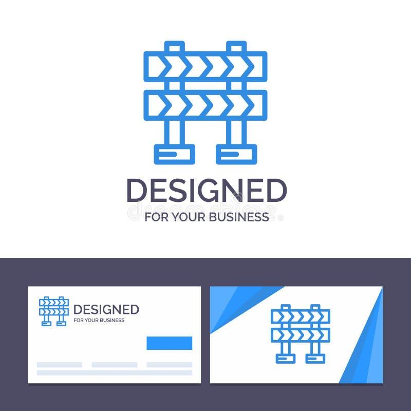 Δημιουργικό οδόφραγμα προτύπων επαγγελματικών καρτών και λογότυπων, εμπόδιο, διανυσματική απεικόνιση κατασκευής διανυσματική απεικόνιση