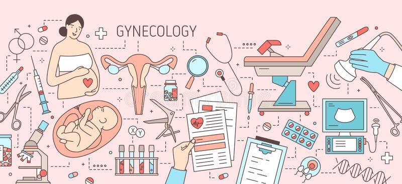 Δημιουργικό οριζόντιο έμβλημα με τη έγκυο γυναίκα, το μωρό στη μήτρα, τη μήτρα, τη γυναικολογικά καρέκλα εξέτασης και τα εργαλεία διανυσματική απεικόνιση