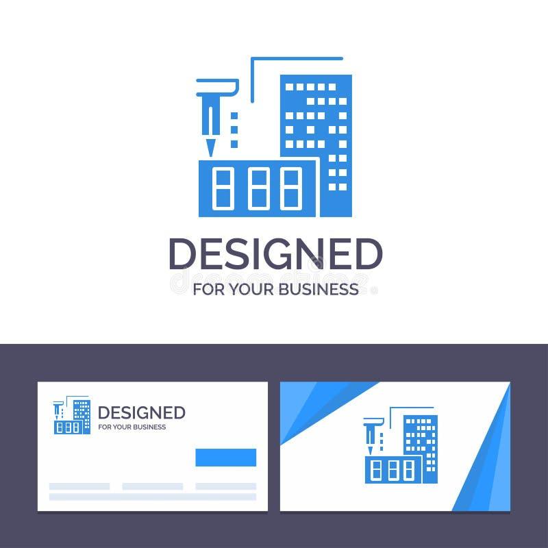 Δημιουργικό πρότυπο επαγγελματικών καρτών και λογότυπων τρισδιάστατο, αρχιτεκτονική, κατασκευή, επεξεργασία, εγχώρια διανυσματική διανυσματική απεικόνιση