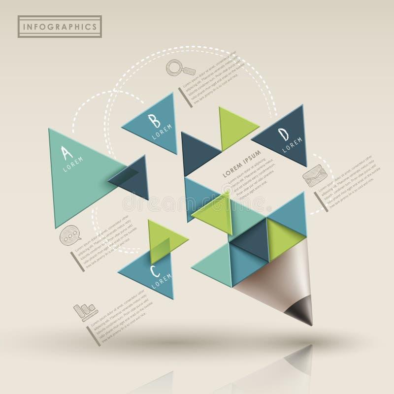 Δημιουργικό πρότυπο με το μολύβι triaingle infographic ελεύθερη απεικόνιση δικαιώματος