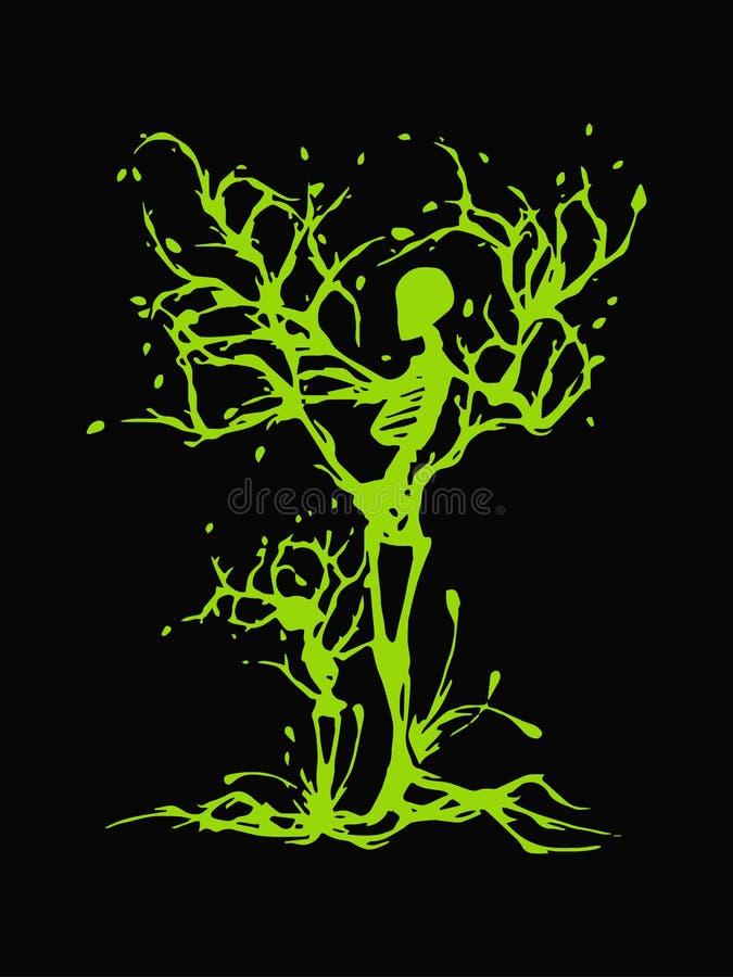 Δημιουργικό πρότυπο σχεδίου λογότυπων έννοιας δέντρων ανθρώπων Μητέρα/πατέρας και γιος/κόρη που διευκρινίζονται στην αφηρημένη έν διανυσματική απεικόνιση