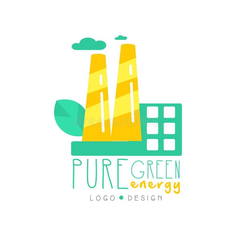 Δημιουργικό πρότυπο σχεδίου λογότυπων αρχικό με το εργοστάσιο, τα σύννεφα και το φύλλο eco Εναλλακτική καθαρή ενέργεια λύσης, ανα διανυσματική απεικόνιση