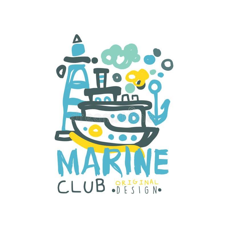 Δημιουργικό πρότυπο σχεδίου λογότυπων λεσχών θάλασσας με την αφηρημένη απεικόνιση του γιοτ και του φάρου Συρμένο χέρι ζωηρόχρωμο  απεικόνιση αποθεμάτων