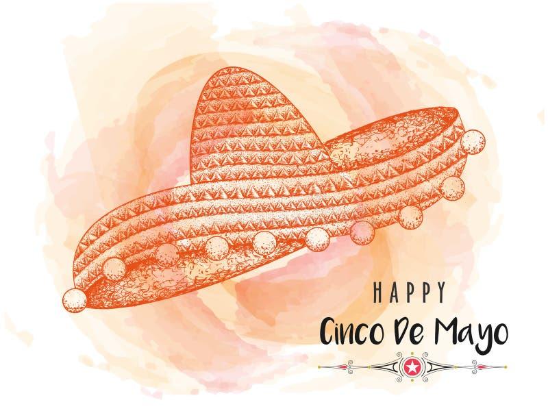 Δημιουργικό σχέδιο εμβλημάτων ή αφισών με την απεικόνιση του καπέλου σομπρέρο για ευτυχές Cinco de Mayo απεικόνιση αποθεμάτων