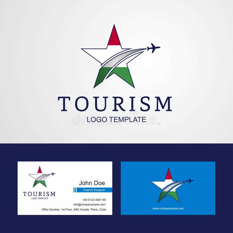 Δημιουργικό σχέδιο λογότυπων και επαγγελματικών καρτών αστεριών σημαιών της Ουγγαρίας ταξιδιού διανυσματική απεικόνιση