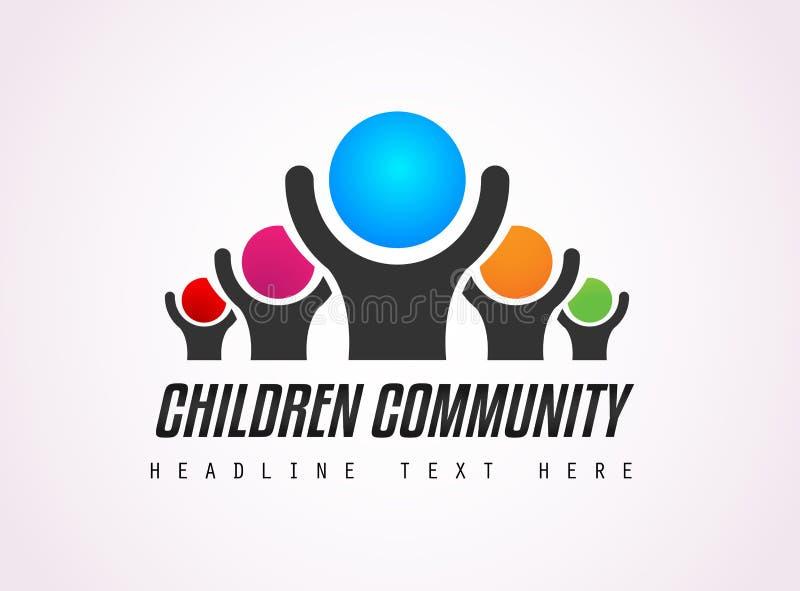 Δημιουργικό σχέδιο λογότυπων παιδιών κοινοτικό για την ταυτότητα εμπορικών σημάτων, comp απεικόνιση αποθεμάτων