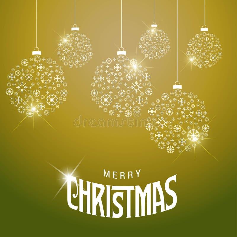 Δημιουργικό σχέδιο Χαρούμενα Χριστούγεννας με το πράσινο διάνυσμα υποβάθρου διανυσματική απεικόνιση