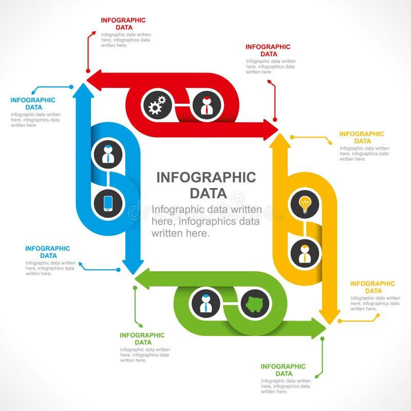 Δημιουργικό σχέδιο πληροφορία-γραφικής παράστασης βελών διανυσματική απεικόνιση