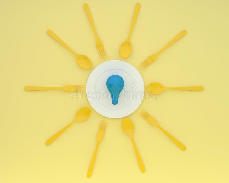 Δημιουργικό σχεδιάγραμμα ιδέας φιαγμένο από μπλε λάμπες φωτός που καίγονται στο πιάτο με τα κουτάλια και τα δίκρανα στο κίτρινο υ στοκ εικόνες