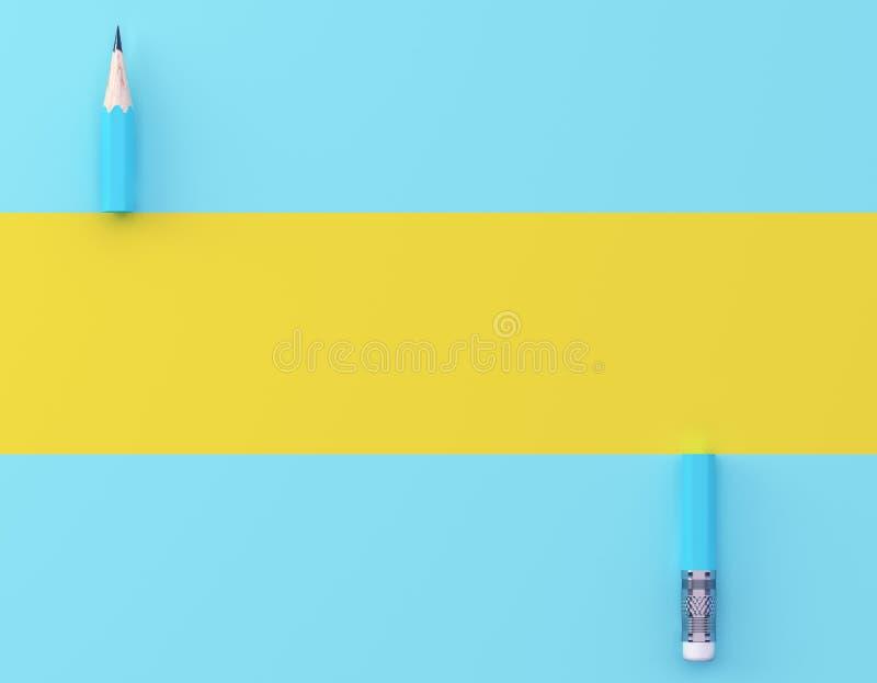Δημιουργικό σχεδιάγραμμα ιδέας φιαγμένο από μπλε μολυβιών υπόβαθρο κρητιδογραφιών αντίθεσης κίτρινο και μπλε Ελάχιστο πρότυπο με  στοκ φωτογραφίες