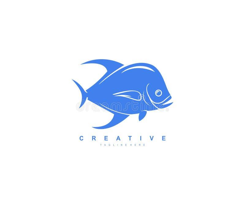 Δημιουργικό σύγχρονο κοίλο λογότυπο ψαριών ελεύθερη απεικόνιση δικαιώματος