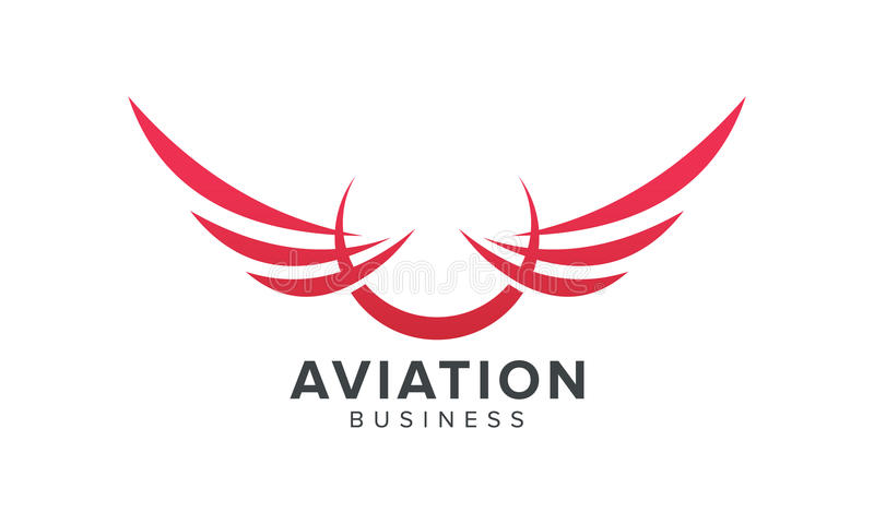 Δημιουργικό σύμβολο φτερών Αεροπορία και σχετική με τις αερογραμμές επιχείρηση απεικόνιση αποθεμάτων