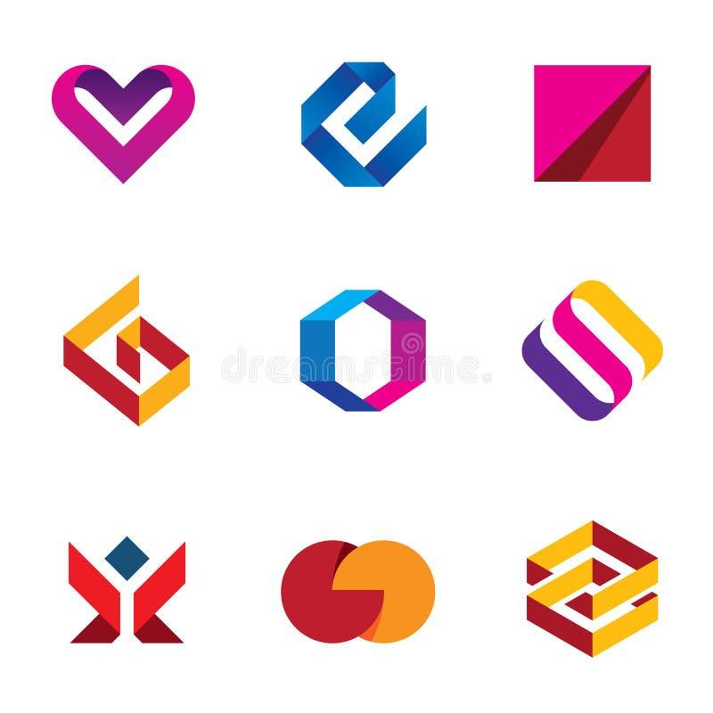 Δημιουργικό σύνολο εικονιδίων λογότυπων προσοχής βοήθειας γραμμών ταινιών επιχειρησιακής επιχείρησης απεικόνιση αποθεμάτων