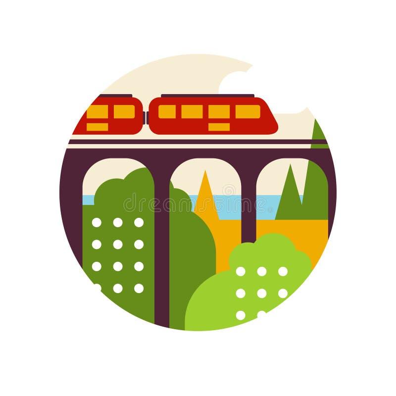 Δημιουργικό τοπίο με τη γέφυρα σιδηροδρόμου και τραίνο στο οικολογικού και φύσης περιβαλλοντικό σημάδι κύκλων λογότυπων, σχέδιο ελεύθερη απεικόνιση δικαιώματος