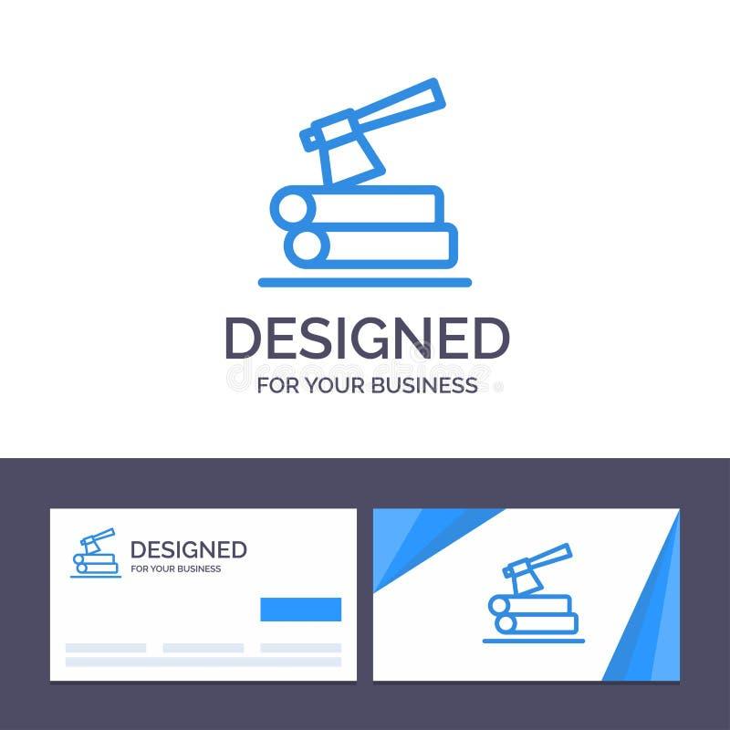 Δημιουργικό τσεκούρι προτύπων επαγγελματικών καρτών και λογότυπων, κούτσουρο, ξυλεία, ξύλινη διανυσματική απεικόνιση απεικόνιση αποθεμάτων
