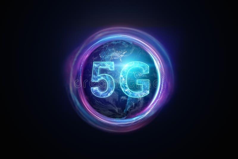 Δημιουργικό υπόβαθρο, η επιγραφή 5G στο υπόβαθρο της σφαίρας Έννοια του δικτύου 5G, μεγάλη ταχύτητα διανυσματική απεικόνιση