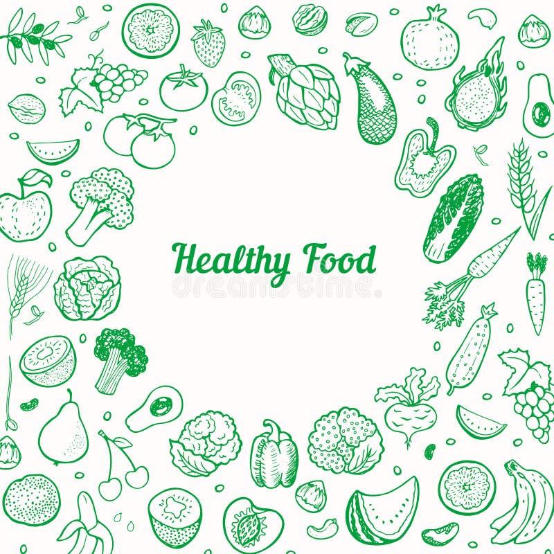 Δημιουργικό υπόβαθρο με συρμένα τα χέρι φρούτα και λαχανικά διανυσματική απεικόνιση