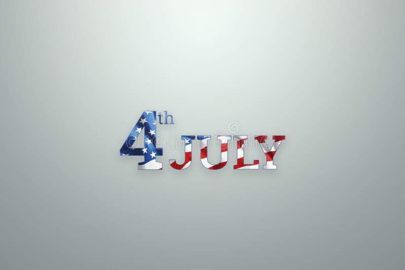 Δημιουργικό υπόβαθρο, στις 4 Ιουλίου επιγραφής σε ένα ελαφρύ υπόβαθρο, ΑΜΕΡΙΚΑΝΙΚΗ ημέρα της ανεξαρτησίας Έμβλημα ΗΠΑ, κάρτα ημέρ ελεύθερη απεικόνιση δικαιώματος