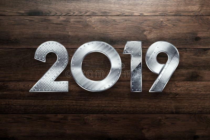 Δημιουργικό φόντο, Μεταλλικό έτος δύο χιλιάδες δεκαεννέα, Ευτυχισμένο το νέο έτος 2019 , μεταλλικό κείμενο χώρος αντιγραφής στοκ εικόνες