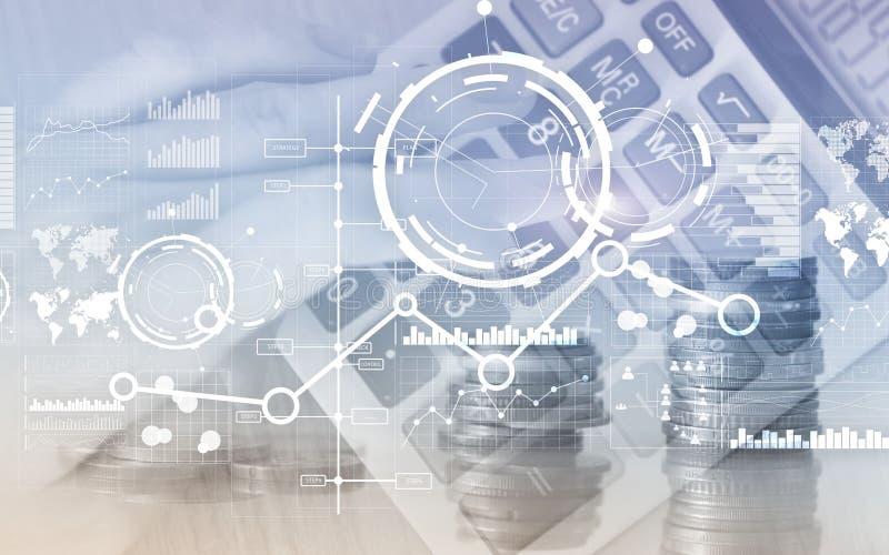Δημιουργικό ψηφιακό αφηρημένο υπόβαθρο επιχειρησιακών διεπαφών Οικονομικά διάγραμμα και εικονίδιο γραφικών παραστάσεων διαγραμμάτ στοκ εικόνες