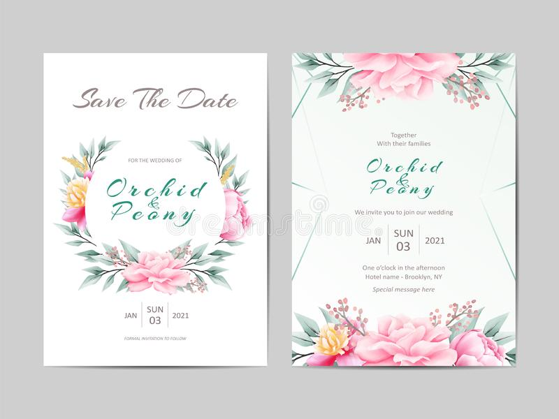 Δημιουργικό Floral σύνολο γαμήλιας πρόσκλησης τριαντάφυλλων Watercolor και άγριων φύλλων απεικόνιση αποθεμάτων