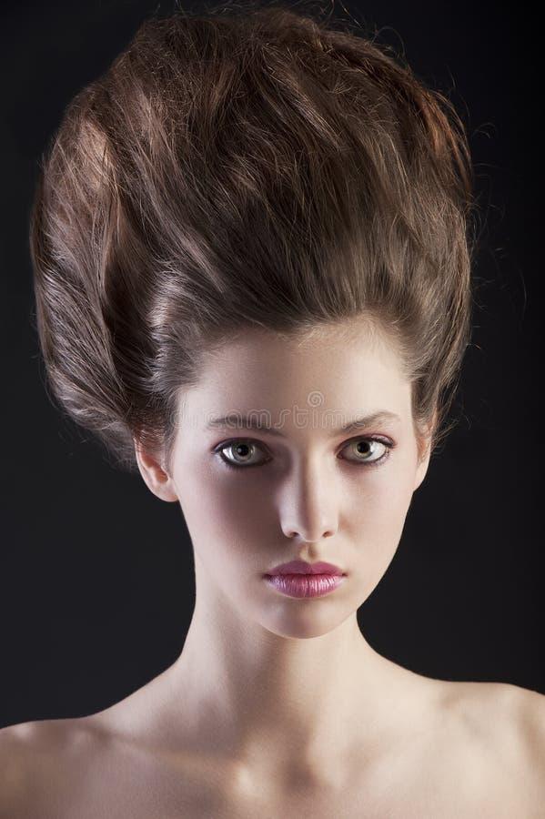 δημιουργικό hairstyle brunette στοκ εικόνα