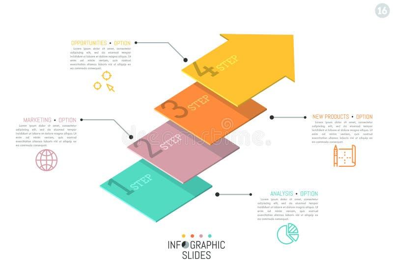 Δημιουργικό infographic πρότυπο σχεδίου Τέσσερα αριθμημένα στοιχεία στη μορφή των επίπεδων βελών τοποθέτησαν ενός επάνω από άλλο διανυσματική απεικόνιση