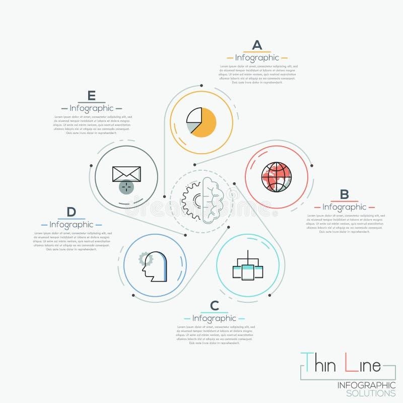 Δημιουργικό infographic σχεδιάγραμμα σχεδίου, 5 κύκλοι με τα εικονογράμματα που τοποθετούνται γύρω ελεύθερη απεικόνιση δικαιώματος