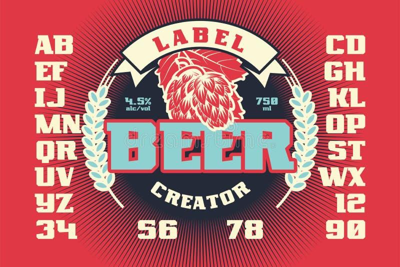 Δημιουργός μπύρας ετικετών ελεύθερη απεικόνιση δικαιώματος