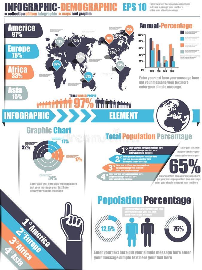 Δημογραφικό διάγραμμα στοιχείων Infographic και γραφικός ελεύθερη απεικόνιση δικαιώματος