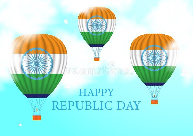 Δημοκρατία της ημέρας της Ινδίας Μπαλόνι ζεστού αέρα που πετά στα ύψη στα σύννεφα στον ουρανό διανυσματική απεικόνιση
