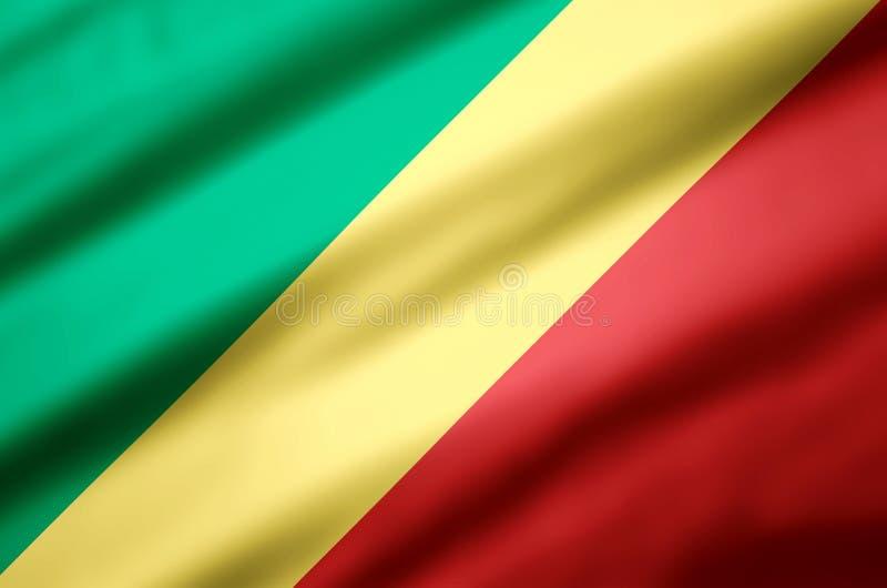 Δημοκρατία της ρεαλιστικής απεικόνισης σημαιών του Κογκό ελεύθερη απεικόνιση δικαιώματος