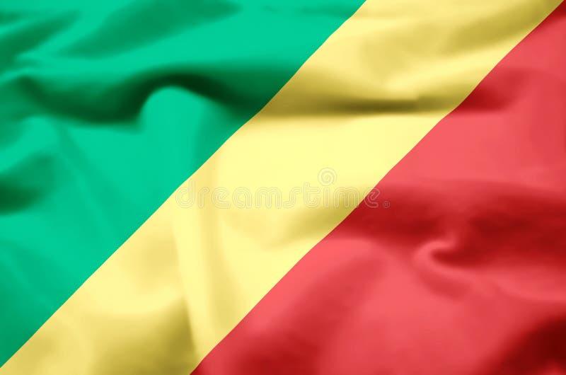 Δημοκρατία της ρεαλιστικής απεικόνισης σημαιών του Κογκό διανυσματική απεικόνιση