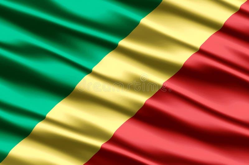 Δημοκρατία της ρεαλιστικής απεικόνισης σημαιών του Κογκό απεικόνιση αποθεμάτων