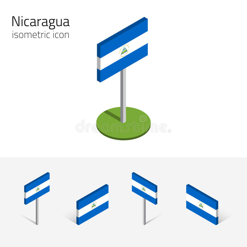 Δημοκρατία της σημαίας της Νικαράγουας, διανυσματικό σύνολο τρισδιάστατου isometric επίπεδου εικονιδίου ελεύθερη απεικόνιση δικαιώματος