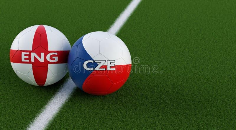 Δημοκρατία της Τσεχίας εναντίον Αγώνας ποδοσφαίρου της Αγγλίας - σφαίρες ποδοσφαίρου στα εθνικά χρώματα Δημοκρατίας της Τσεχίας κ απεικόνιση αποθεμάτων