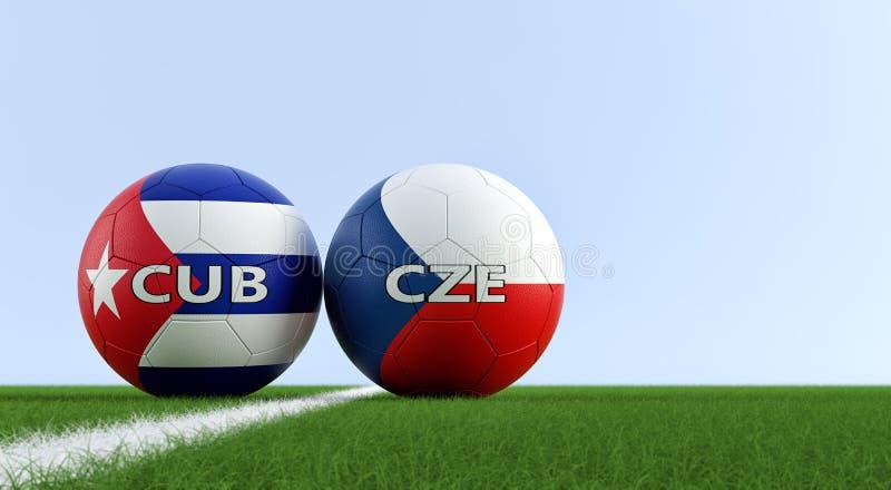 Δημοκρατία της Τσεχίας εναντίον Αγώνας ποδοσφαίρου της Κούβας - σφαίρες ποδοσφαίρου στα εθνικά χρώματα Δημοκρατίας της Τσεχίας κα ελεύθερη απεικόνιση δικαιώματος