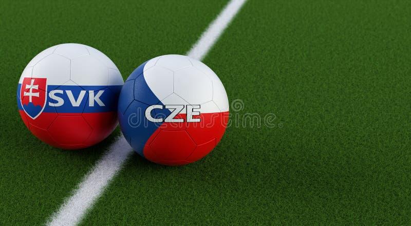Δημοκρατία της Τσεχίας εναντίον Αγώνας ποδοσφαίρου της Σλοβακίας - σφαίρες ποδοσφαίρου στα εθνικά χρώματα Δημοκρατίας της Τσεχίας διανυσματική απεικόνιση