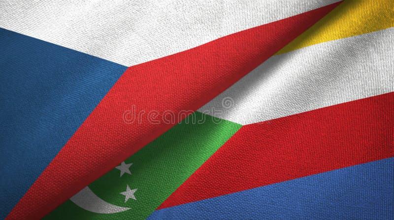 Δημοκρατία της Τσεχίας και Κομόρες δύο υφαντικό ύφασμα σημαιών, σύσταση υφάσματος ελεύθερη απεικόνιση δικαιώματος