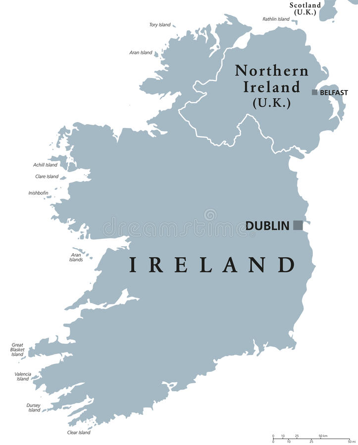 Δημοκρατία του πολιτικού χάρτη της Ιρλανδίας και της Βόρειας Ιρλανδίας διανυσματική απεικόνιση