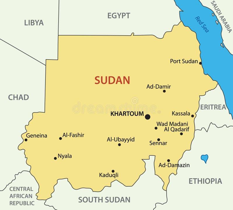 Δημοκρατία του Σουδάν - διανυσματικός χάρτης ελεύθερη απεικόνιση δικαιώματος