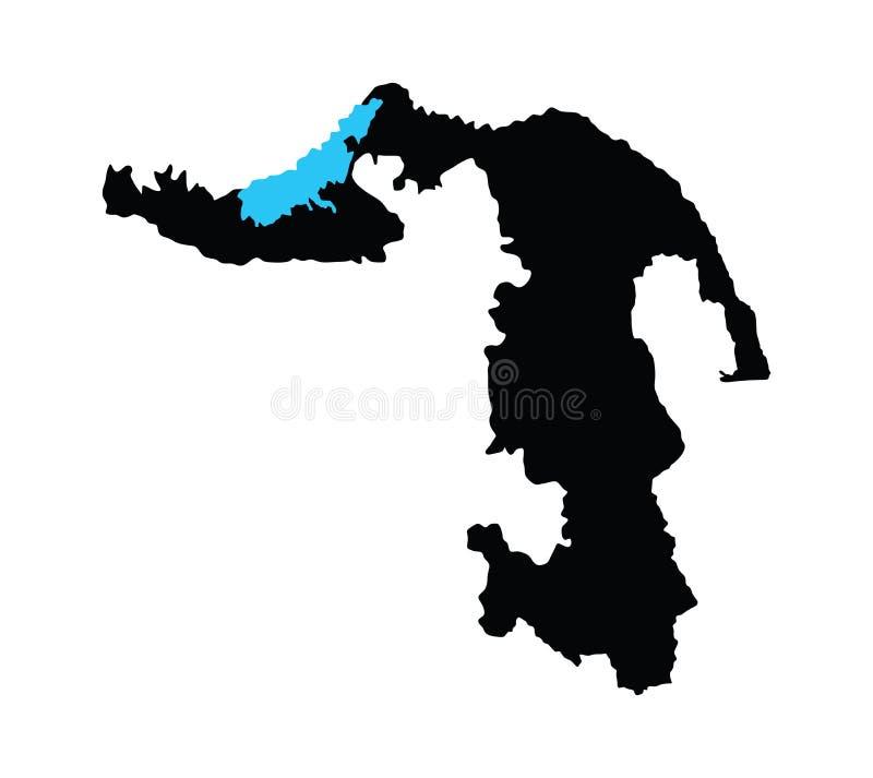 Δημοκρατία του χάρτη Adygea που απομονώνεται στο άσπρο υπόβαθρο Χάρτης της Ρωσίας oblast διανυσματική απεικόνιση