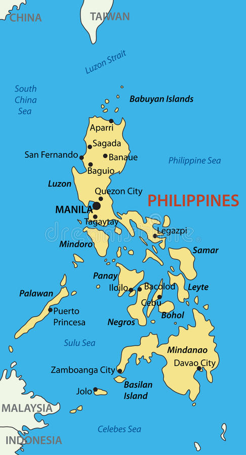 Δημοκρατία των Φιλιππινών - διανυσματικός χάρτης απεικόνιση αποθεμάτων
