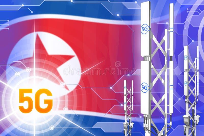 Δημοκρατική βιομηχανική απεικόνιση Βόρεια Κορεών 5G Δημοκρατίας λαών της Κορέας, μεγάλος κυψελοειδής ιστός δικτύων ή πύργος σε ψη διανυσματική απεικόνιση